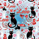 Seamless festive pattern with lovers cats by Tanor