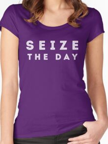Seize the Day (Inline White) Women's Fitted Scoop T-Shirt