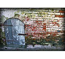 Weathered Brick Wall with Wooden Door, California 2014 Photographic Print