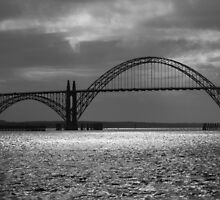 Yaquina Bay Bridge Black And White by James Eddy