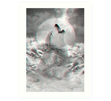 Maybe the Wolf Is In Love with the Moon v.2 (Actual 3D Effect) Art Print