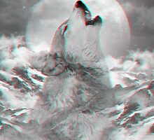 Maybe the Wolf Is In Love with the Moon v.2 (Actual 3D Effect) by soaringanchor
