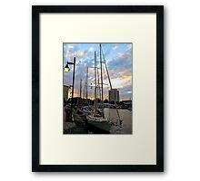 Schooners Docked at Sunset    (1424109466VA) Framed Print