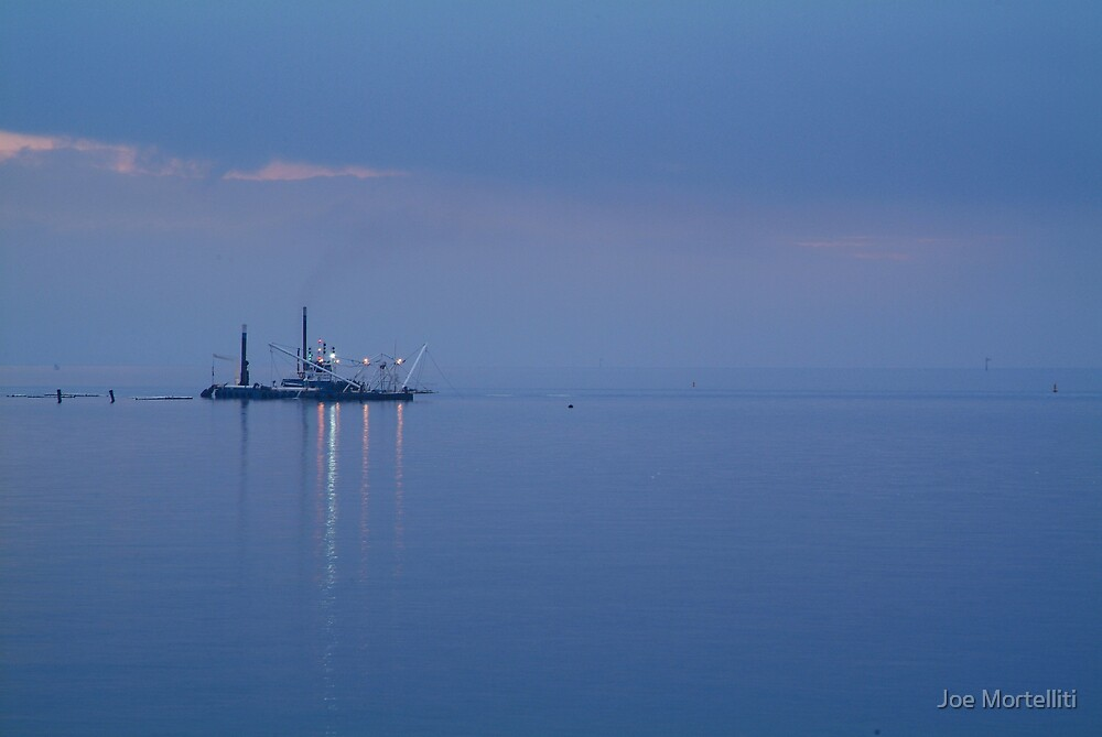 Dredging,Misty Twilight, Queenscliff by Joe Mortelliti