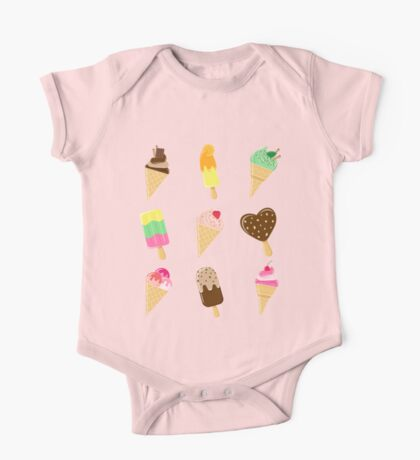 Assorted Ice Cream in Pink Background One Piece - Short Sleeve