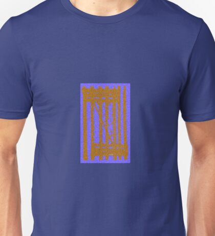 golden stripes on blue Unisex T-Shirt