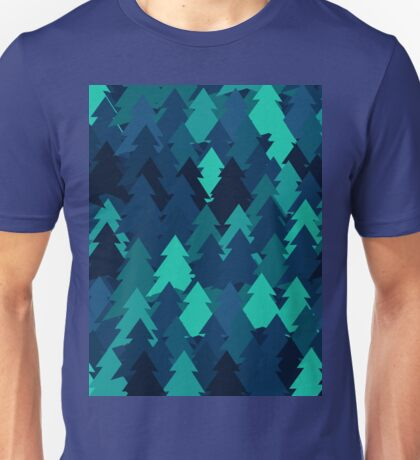 Blue woodland. Spruce forest illustration. Nature background of trees. Green trees texture. Wood drawings. Wanderlust. Adventure and nature Unisex T-Shirt