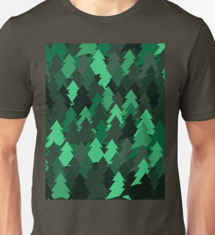 Green woodland. Spruce forest illustration. Nature background of trees. Green trees texture. Wood drawings. Wanderlust. Adventure and nature Unisex T-Shirt