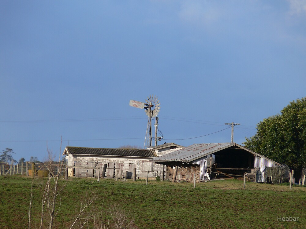 Windmill beside old farm shed dairy by Heabar