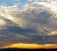 Heavy sunset clouds in New York City  by Alberto  DeJesus