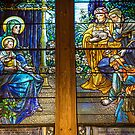 USA. Connecticut. New Haven. Trinity Church. Tiffany stained glass window. by vadim19