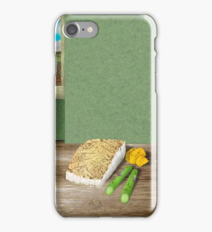 Pan fried fillet of fish with asparagus and miniature roast potatoes iPhone Case/Skin