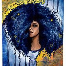 Blue curls watercolor and ink by mahinaz