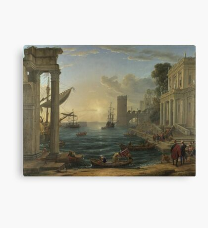 Claude - Seaport With The Embarkation Of The Queen Of Sheba Canvas Print