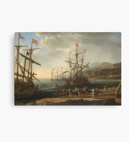 Claude Lorrain - The Trojan Women Setting Fire To Their Fleet Canvas Print