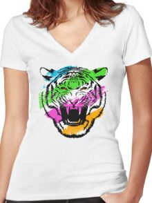 Tiger Stripes Women's Fitted V-Neck T-Shirt