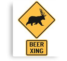 Bear Deer Beer Crossing Canvas Print