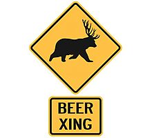Bear Deer Beer Crossing Photographic Print