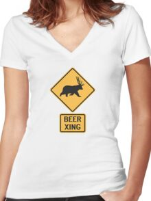 Bear Deer Beer Crossing Women's Fitted V-Neck T-Shirt