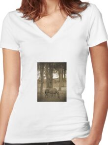Horse Grazing Among The Autumn Trees Sepia Women's Fitted V-Neck T-Shirt