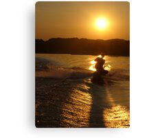 Knee Boarding at Sunset Canvas Print