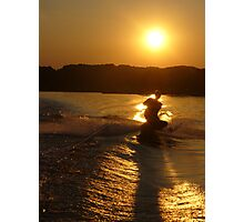 Knee Boarding at Sunset Photographic Print