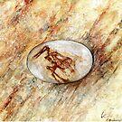 Eggosaurus dino in an egg by Veera Pfaffli
