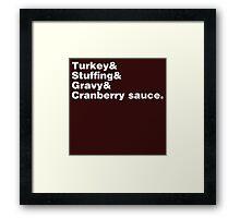 Thanksgiving Helvetica Framed Print
