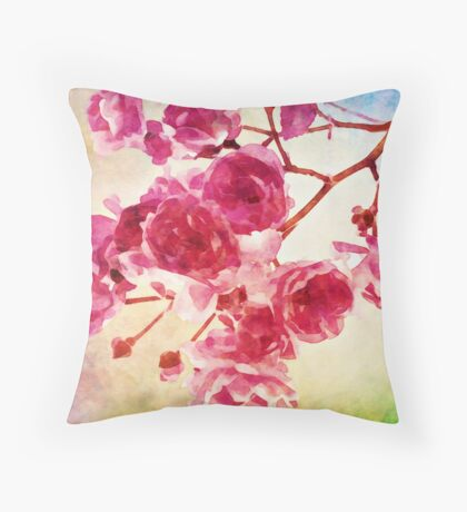 Cherry blossom water color Throw Pillow
