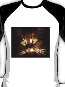 Kitty cat glowing eyes fractal artwork T-Shirt