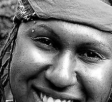 Aboriginal Smile BW by DavidsArt