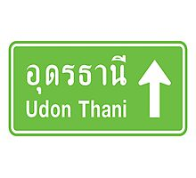 Udon Thani, Isaan, Thailand Ahead ⚠ Thai Traffic Sign ⚠ Photographic Print