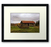 Hay Bales Near a Country Barn Framed Print