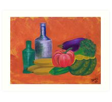Vegetables, bananas & glass bottles Art Print