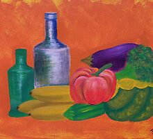 Vegetables, bananas & glass bottles by brendak