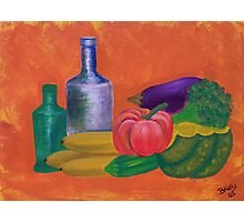 Vegetables, bananas & glass bottles Photographic Print