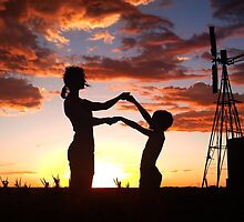 Silhouette Playing... Free State, South Africa  by Qnita