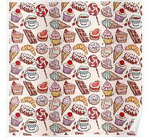 Hand drawn confectionery seamless pattern croissant Cupcake candy marshmallow ice cream cake donut and coffee Poster