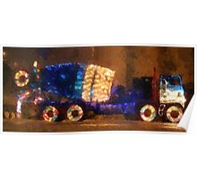 santa claus father christmas truck cement truck Poster