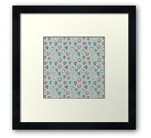 pattern with hearts. Blue, pink, brown Framed Print