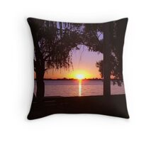 Cabin sunset Throw Pillow