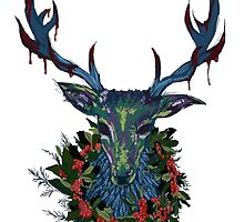 Deck the RavenStag with Boughs of Holly by artbysamwise