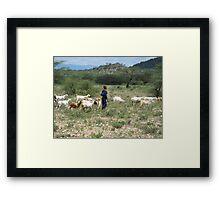 Samburu farmer Framed Print