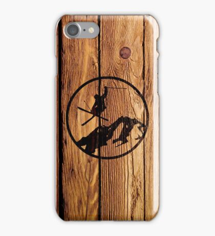 skiing 1 distressed iPhone Case/Skin