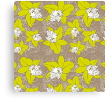 floral pattern fantasy blooming green white orchids on brown background.  Canvas Print