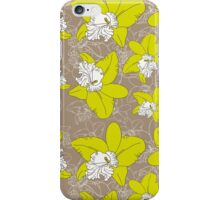 floral pattern fantasy blooming green white orchids on brown background.  iPhone Case/Skin