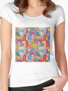 Cityscape seamless pattern. Sketch.  Women's Fitted Scoop T-Shirt