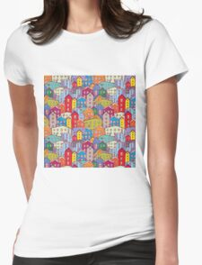 Cityscape seamless pattern. Sketch.  Womens Fitted T-Shirt