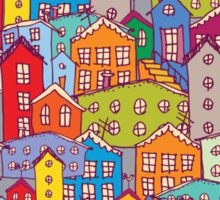 Cityscape seamless pattern. Sketch.  Sticker