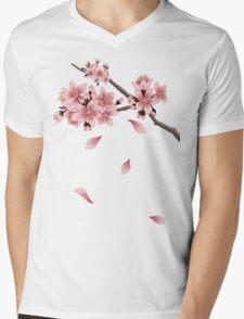 Cherry Blossom Branch Mens V-Neck T-Shirt